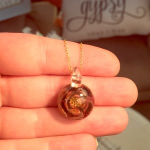 Vintage Real Flower Glass Dome Necklace